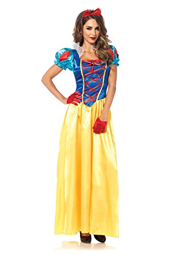 Avenue Lace Up Costume (Leg Avenue Women's 2 Piece Classic Snow White Costume, Multi, Small)