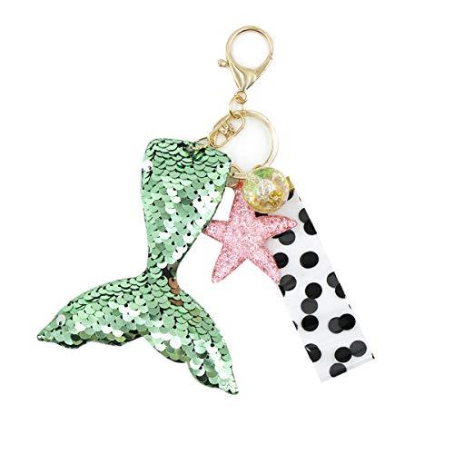 Bolley Joss Glitter Flip Sequin Key Chain Mermaid Tail Key Ring with Lovely Star Pendant for Girls Women ()