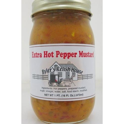 (Byler's Relish House Homemade Amish Country Extra Hot Pepper Mustard 16 oz.)