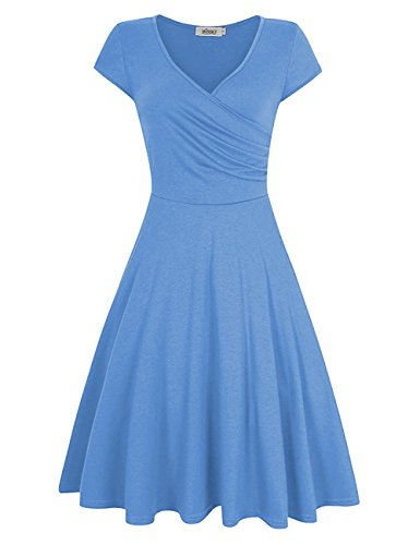 (MISSKY Women V Neck Short Sleeve Pullover Knee Length A line Shaped Slim Fit Flare Summer Swing Vintage Dress (M, Light Blue))