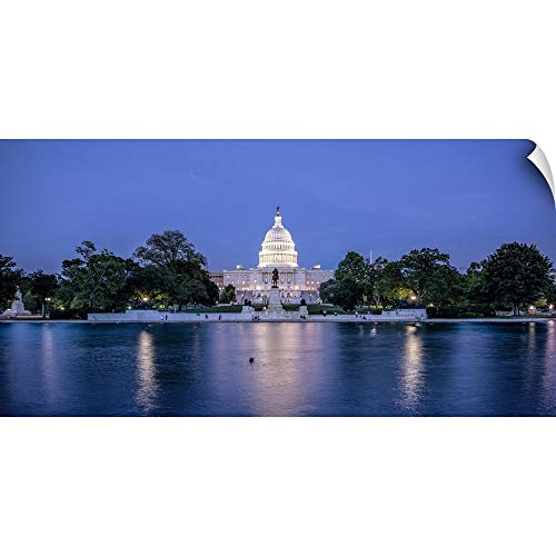 CANVAS ON DEMAND Capitol Reflecting Pool at Night, US Capitol Building, Washington DC Wall Peel Art Print, 30