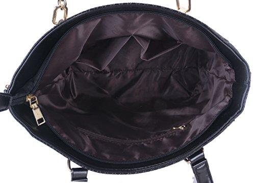 6 Portafogli in Spalla set Pelle Coofit Borse Black con a Donna Borsa W8wqz6qZH
