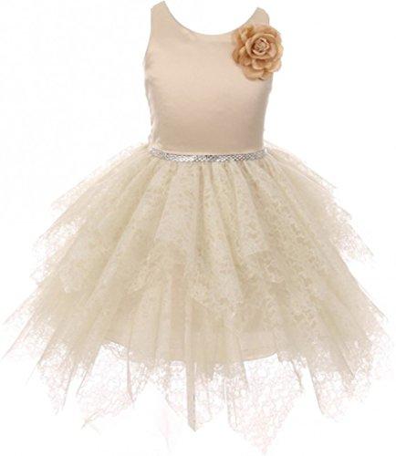 Little Girls Lozenge Cut Tiered Tulle Lace Sparkle Waist Princess Flower Girl Dress Champagne 4 (K64K05) -