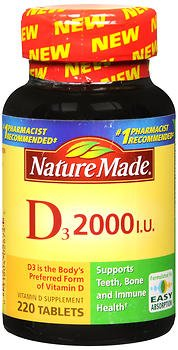 Nature Made D3 2000 IU Tablets 220 ea (Pack of 4) by Nature Made