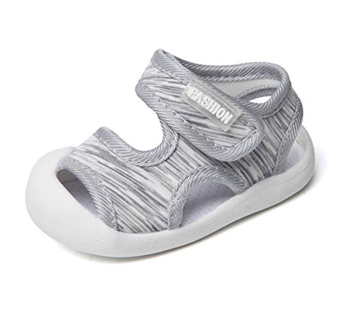 (Boys Girls Athletic Sports Sandals Open-Toe Breathable Rubber Sole Beach Water Shoes for Toddler (6.5 M US Toddler, 4-Grey))