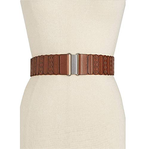 (INC Style & Co. Women's Casual Panel Stretch Belt, Brown, Large/X-Large)