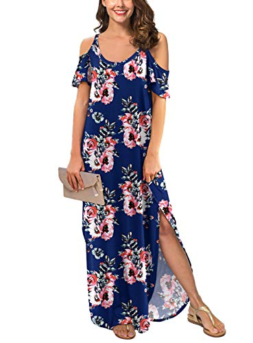 GRECERELLE Women's Summer Strapless Strap Cold Shoulder Casual Loose Dress Cover Up Long Cami Split Floral Print Maxi Dresses with Pocket Navy Blue-XL