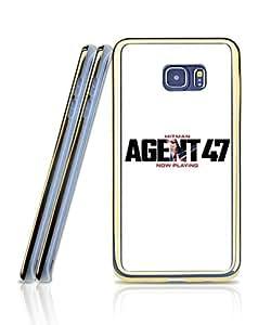 Personalized Funda Case For Galaxy S6 Edge Plus, Hitman Agent 47 Logo Film Creative & Vintage Premium Style [2 in 1 + Golden - Bordered] Tough Hard Compatible with Samsung Galaxy S6 Edge Plus [Just for S6 Edge Plus]
