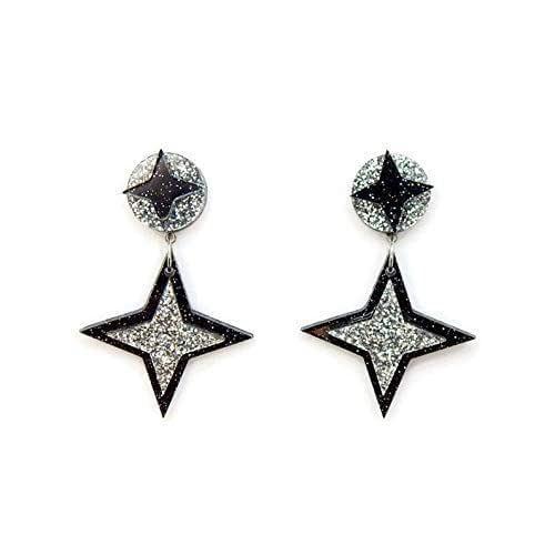 stainless steel plated black stud earring wth push backs Black Starburst Spike