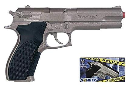 Gonher Police Pistol 8 Shots, Multi Color (Matt)