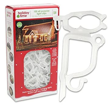 Amazon.com : Holiday Time 100 pc. All Purpose Light Clips : String ...