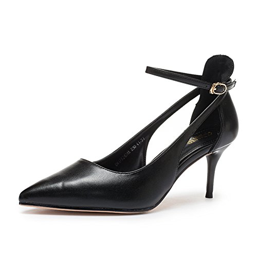 Ladies Herbst Korean Shoes,High Heel Fine and Hollow Schuhe,Spitzen Zehen Dünne Schuhe-A Fußlänge=23.8CM(9.4Inch)