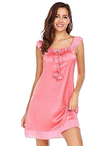 Ekouaer Mujer Ropa De Dormir Camisones Satén con Cordón Camisón Suelto Satén Rosa