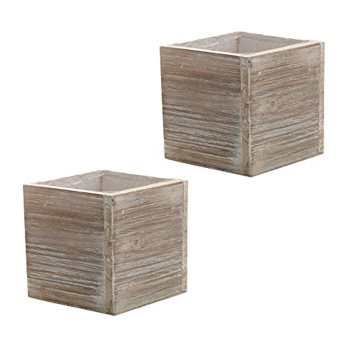 Wood Planter Box, Rustic Whitewash, 6 Inch, Wedding Decor and Floral Arrangements, Country House Charm, Plastic Liners, Wooden Square, Natural Style, (Beige) (Set of 2) (Style Box Planter)