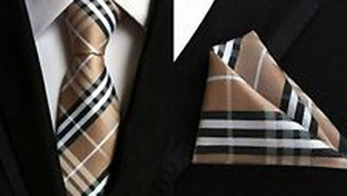 Jacob AleX #47175 Checks Brown Black JACQUARD WOVEN Necktie Pocket Square Hankerchief (Jacob Black Halloween)