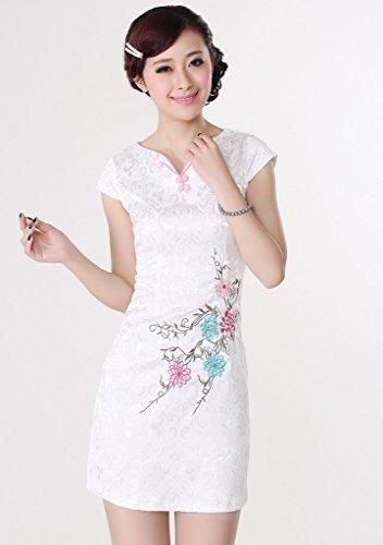 Bigood Robe Cheongsam Femme Qipao Style Chinois Motif Fleur Cocktail Chic Blanc Bust 102cm