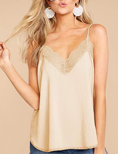 Summer Chiffon Tank Tops for Womens Lace Cami V Neck Spaghetti Strap Sexy Camis Sleeveless T-Shirt (XXL, Beige)