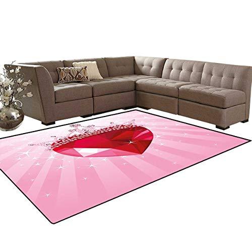 Queen Bath Mats Carpet Vibrant Love Valentines Heart with Princess Crown Cartoon Romantic Kids Girls Design Girls Rooms Kids Rooms Nursery Decor Mats 5'x8' Pink Red
