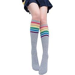 Rainbow Socks, Women Girls Rainbow Striped Cotton Socks Fashion Warm Chrismas ☀️ HunYUN☀️