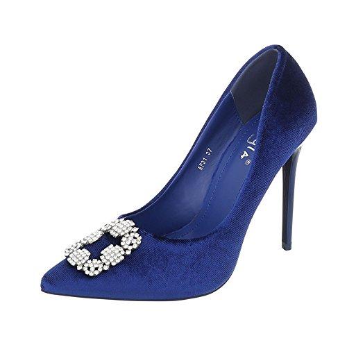 Ital-Design High Heel Pumps Damenschuhe Pfennig-/Stilettoabsatz Heels Blau AF31