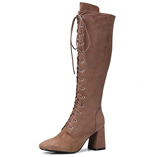 Suede Square Knee Dressy High Seven Toe Block Brown Up Boot Handmade Heel Women's Leather Lace Nine 15I7qT7