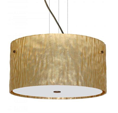 Besa Lighting 1KV-4008GS-LED-BR 3X6W Gu24 LED Tamburo 16V2 LED Pendant with Stone Gold Foil Glass, Bronze Finish ()