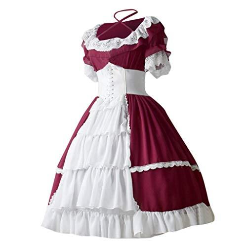 Halloween Carnival Maid Dress,Forthery Women's German Dirndl Dress Traditional Bavarian Beer Girl Oktoberfest Costumes(Red,L)