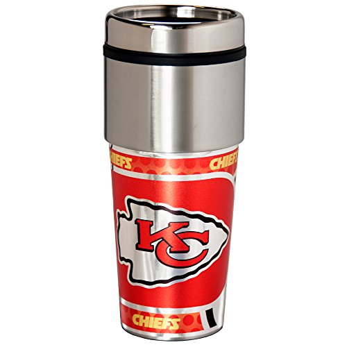 NFL Kansas City Chiefs 16 oz. Stainless Steel Travel Tumbler with Metallic Graphics, Team Color