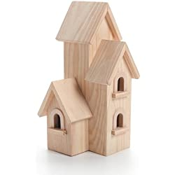 "Darice Unfinished Natural Wood Decorative Birdhouse - Light Wood, Manhattan Style - Great for Holiday and Home Décor Projects - Decorate with Paint, Tiles, Decoupage and More - 12"" Tall (1 Piece)"