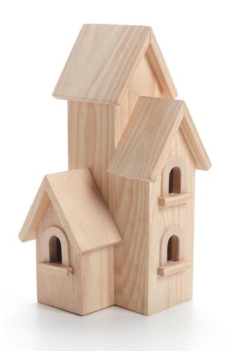 Darice Unfinished Natural Wood Decorative Birdhouse - Light Wood, Manhattan Style - Great for Holiday and Home Décor Projects - Decorate with Paint, Tiles, Decoupage and More - 12