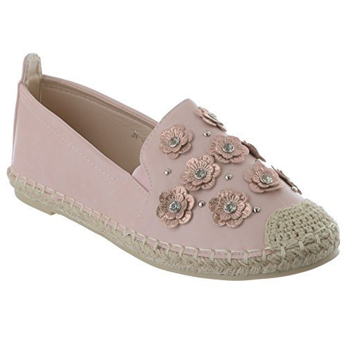 Miss Image UK Ladies Womens Espadrilles Diamante Flower Slip On Casual Summer Pumps Sandals Shoes Size Pink Faux Leather BPrdd3lc4O