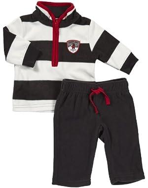 Carter's Baby Boys' L/S Microfleece Pant Set - Grey Stripe