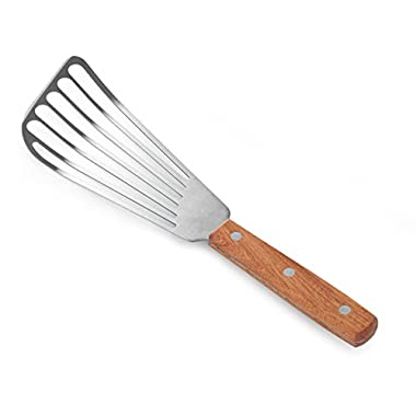 New Star Foodservice 43068 Wood Handle Fish Spatula, 6.5  Blade, Silver
