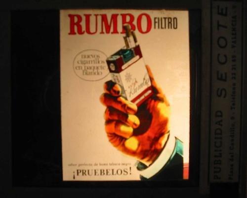 Antigua PUBLICIDAD EN CRISTAL PARA CINES : Cigarrillos RUMBO fil