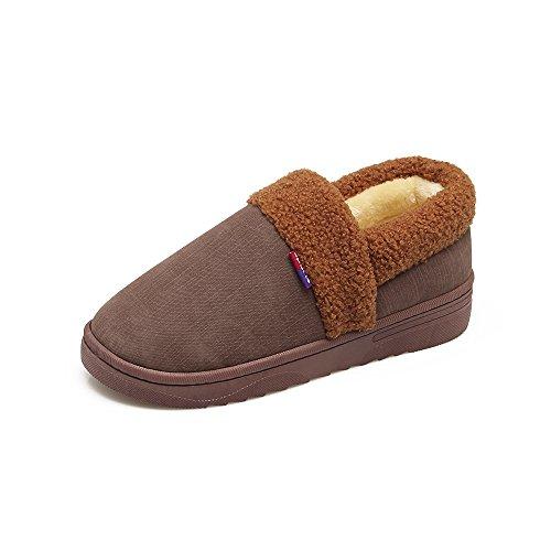 Y-Hui el interior de invierno zapatillas de algodón con un cálido y lleno de amantes en mobiliario de hogar inferior grueso zapatillas zapatos en invierno,42-43 (normalmente 41-42 metros), marrón
