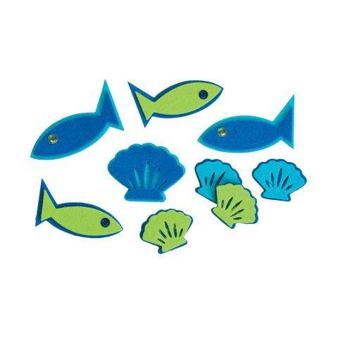 Darice Bulk Buy DIY Kids Felties Felt Stickers Fish with Gems 24 Pieces (3-Pack) FLT-1009