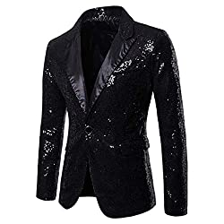 Men's Sequin One Button Fit Suit Jacket