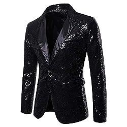 Men's Sequin One Button Fit Suit Jacket