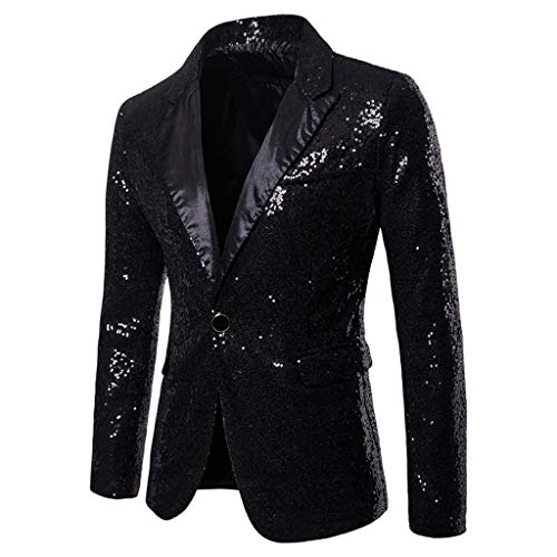 Toimothcn Charm Men's Sequin Casual One Button Fit Suit Blazer Coat Jacket Party(Black,L) ()