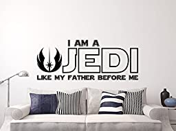 I Am a Jedi, Like My Father Before Me Wall Decal Vinyl Sticker Decals Quotes Star Wars Wall Decal Quote Wall Decor Nursery Baby Room Art x3