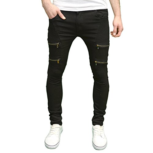 Soulstar Mens Designer Ripped Distressed Detailed Skinny Fit Jeans, BNWT (32W x 32L, Mazer Black)