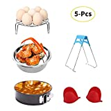 Instant Pot Accessories Set with Steamer Basket, Egg Steamer Rack, Non-stick Springform Pan, Steaming Stand, 1 Pair Silicone Cooking Pot Mitts 5 Pieces-Fits 5,6,8Qt Instant pot Pressure Cooker
