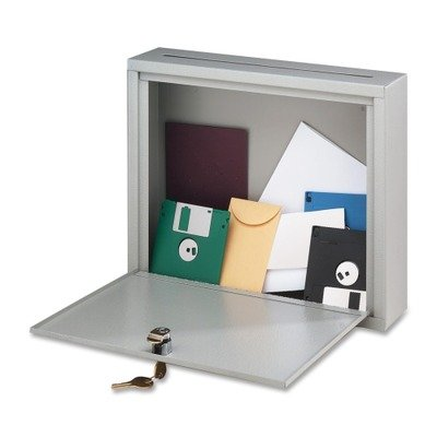 Wall-Mountable Interoffice Mail Collection Box, 18w x 7d x 18h, Platinum - BDY562632