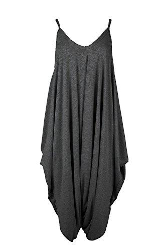 Oops Outlet Women's Thin Strap Lagenlook Romper Baggy Harem Jumpsuit Playsuit Plus Size (US 12/14) Charcoal