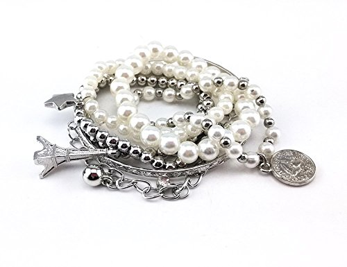 Honbay 6pcs Set Vintage Mixed Pearl Multi Bangle Set Eiffel Tower Star Beads Charms Pendant Jewelry Cuff Bracelet Bangle