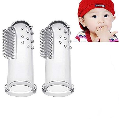 amaoma 2 pieza Soft Training silicona cepillo de dientes dedo para bebés Oral Massager Premium,