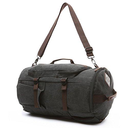 BAOSHA HB-26 3-Ways Vintage Canvas Men Holdall Weekend Travel Duffel Bag Backpack Messenger Shoulder Bags Convertible Travel Hiking Rucksack Weekender Overnight Bag Handbag (Black) by Baosha (Image #3)