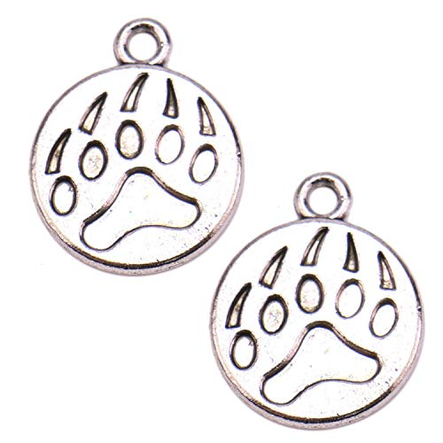 JETEHO 50pcs Vintage Tibetan Antique Silver Bear Paw Charms Pendant Animal Paw Print Charms for DIY Jewelry Making 18x15mm