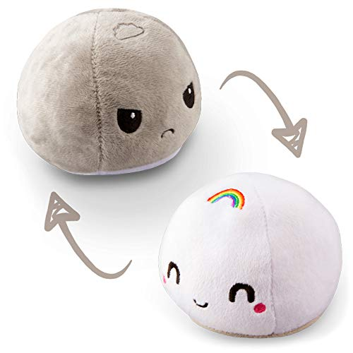 TeeTurtle   The Original Reversible Cloud Plushie   Patented Design   Storm and Rainbow   Show Your Mood Without Saying a Word!