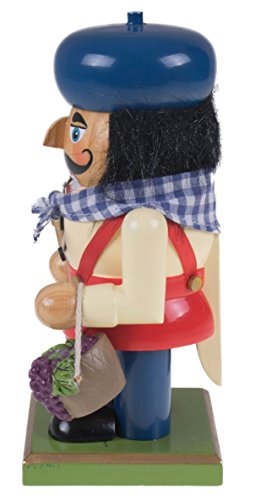 Traditional Wooden Chubby Italian Nutcracker by Clever Creations | Wine Bottle and Basket of Grapes | Festive Christmas Decor | 7'' Tall Perfect for Shelves and Tables by Clever Creations (Image #1)